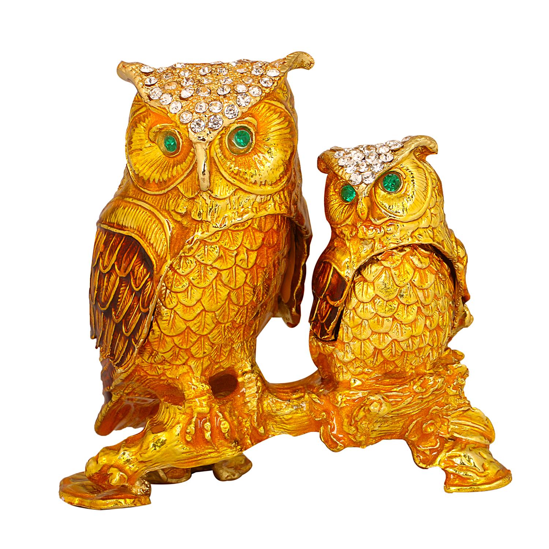 Bird In Blue Imported Golden Owl Jewellery Trinket Box